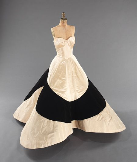 """Four-Leaf Clover"" ball gown, 1953  Charles James (American, born Great Britain, 1906–1978)   Silk: Ivory Duchesse satin; ivory faille; black velvet (velours de Lyon); synthetic: nylon mesh Brooklyn Museum Costume Collection at The Metropolitan Museum of Art, Gift of the Brooklyn Museum, 2009; Gift of Mrs. Cornelius V. Whitney, 1953 (2009.300.779)"