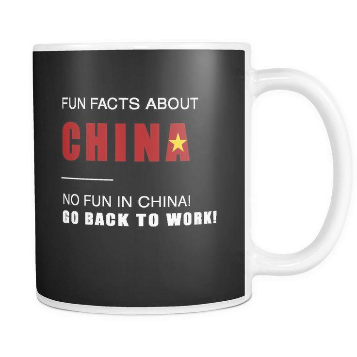 Fun facts about China - No fun, Go Back to work! black 11oz mug