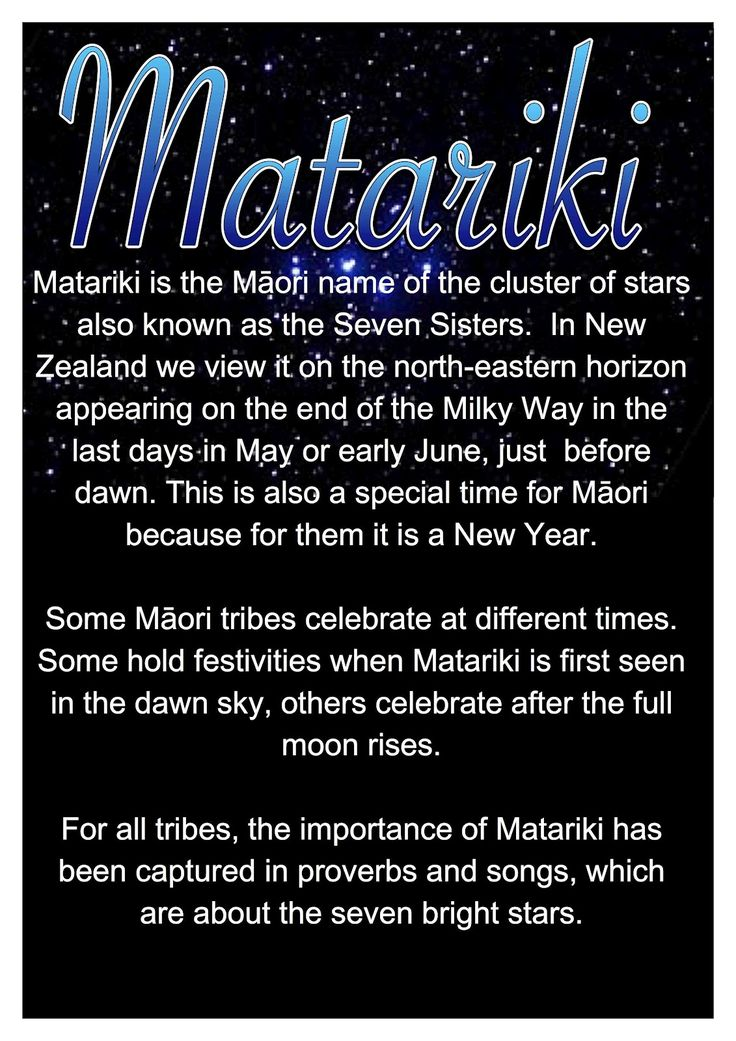 Waitangi National Trust - Matariki Fesitval Matariki is the Māori name for the cluster of stars also known as the Pleiades. It rises just once a year, this year on the 28th June and signals the start of the Māori New Year. Matariki Festival will be held at the Waitangi Treaty Grounds from the 28th June till the 6th July. - See more at: http://www.waitangi.org.nz/events/