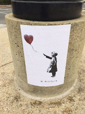 """With Syria"" Banksy Posters Popping Up in DC, March 2014"