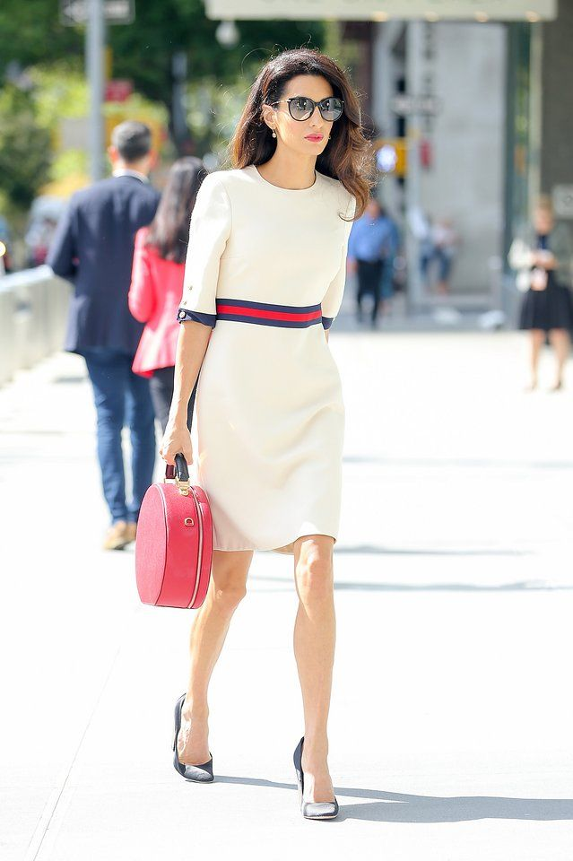 Amal Clooney in Gucci dress, Dolce & Gabbana bag, Giambattista Valli shoes