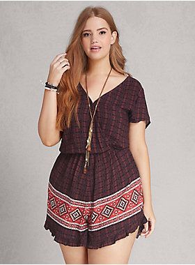 "<p>Sorry not sorry, but we wanna rock this romper every day. A sophisticated take on the off-duty romper (note the busty surplice neckline held in place by a snap button). The black and red geo print is totally boho babe approved; so is the border patterned ruffle shorts.</p>  <p> </p>  <p><b>Model is 5'9"", size 1</b></p>  <ul> 	<li>3"" inseam</li> 	<li>Rayon</li> 	<li>Wash cold, line dry</li> 	<li>Imported plus size romper</li> </ul>"