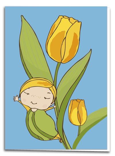 Tulip - illustration by Terese Bast  #tulip #elf #happy #spring #teresebast