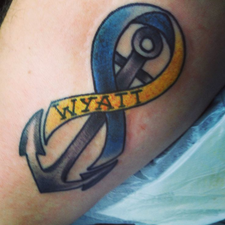 #Down syndrome awareness#infinity#anchor tattoo I got in honor of my son