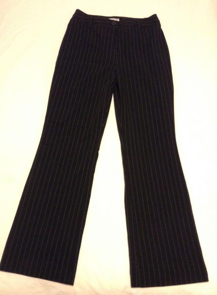 East 5th Juniors Black Pin Striped Dress Pants Sz 6 28x 31 Slacks