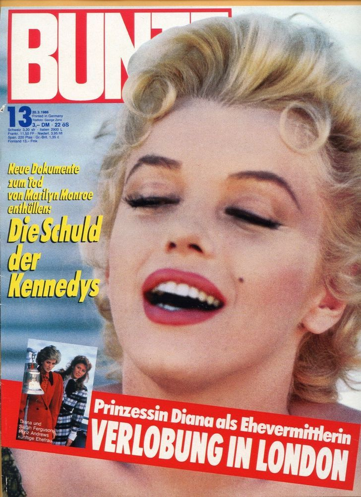"""Bunte - March 3rd 1986, magazine from Germany. Front cover photo of Marilyn Monroe on the set of """"Bus Stop"""" by Milton Greene, 1956."""