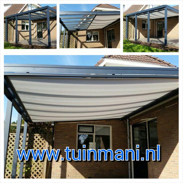 Veranda - terrasoverkapping, gemaakt van aluminium. Geeft sfeer in de tuin, modern of klassiek model. Beschermt uw tuinmeubelen tegen weersinvloeden en u kunt langer buiten zitten. Als opties: verlichting, een spie, glazen zijwand, zonnedoeken of schuifwand. Ook verkrijgbaar in hout (geïmpregneerd of lariks) Deze is geplaatst en verkrijgbaar bij tuinmani @Tuinmani #tuinmani www.tuinmani.nl