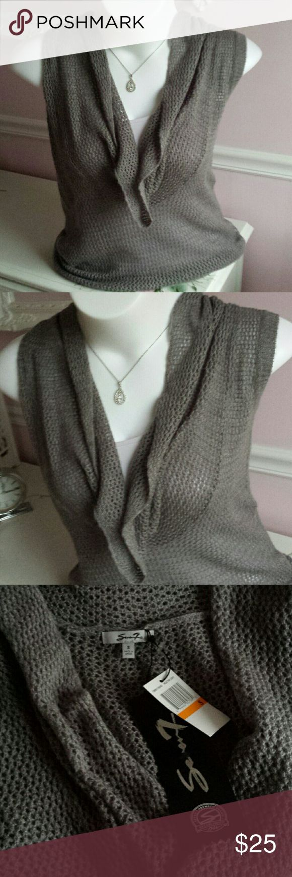 Seven7 gray sleeveless sweater Gray sleeveless sweater with draped cowl neck by SEVEN7. Longer length, slightly looser fit. Brand new with tags. Seven7 Sweaters Cowl & Turtlenecks