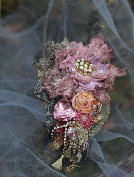 Faded peony- opulent mixed media brooch, embroidered, beaded, old laces