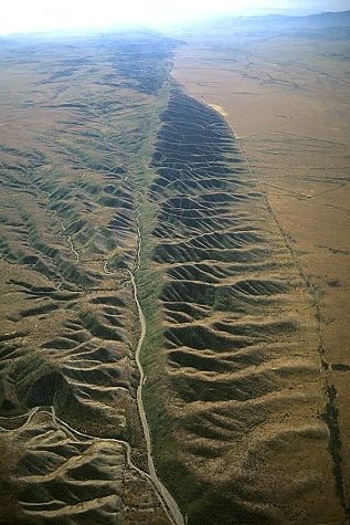 Aerial photo of part of 800 mile long San Andreas Fault, San Luis Obispo County, California, CA United States