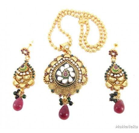 traditional gold plated kundan Cz pendant set - Fashion Jewelry