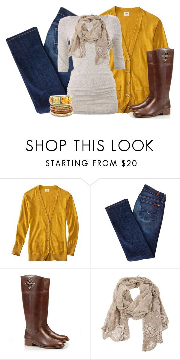 """""""Autumn Inspired"""" by ohsnapitsalycia ❤ liked on Polyvore featuring Mossimo, 7 For All Mankind, Bruuns Bazaar, Tory Burch, Faliero Sarti and Fantasy Jewelry Box"""