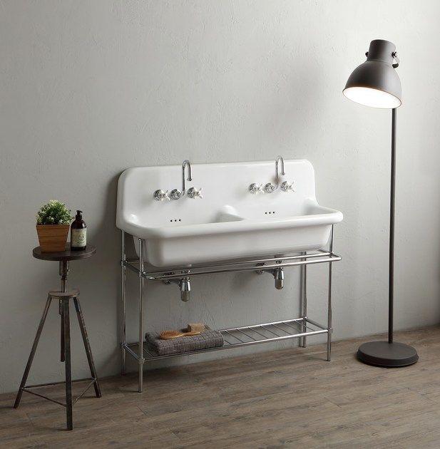 lavabo console double en céramique avec porte serviettes truecolors