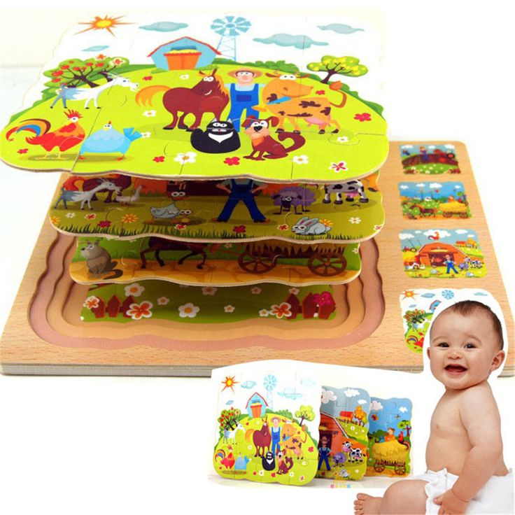 kids Animal  Wooden Jigsaw Puzzle farm toys for children cartoon wolf  and  tortoise puzzles educational  building  Toys  CU43-1