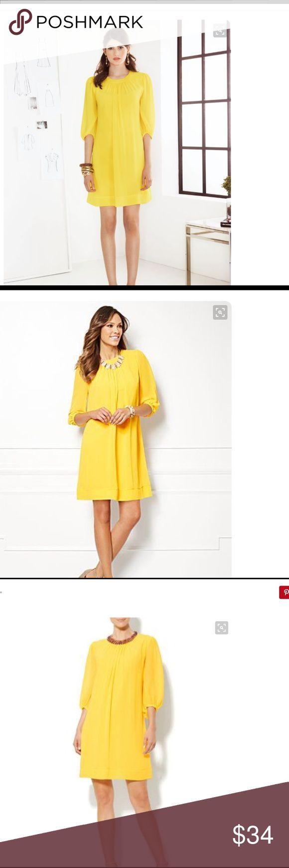 Eva Mendez Sabrina Dress NWT Eva Mendez Collection for New York & Company, Sabrina Dress in canary yellow. See through 3/4 sleeves, fully lined  and invisible center back zipper. 100 % Polyester/ XS Petite New York & Company Dresses Midi