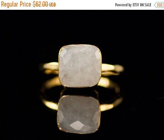 40 OFF  White Moonstone Ring  June Birthstone Ring  by delezhen