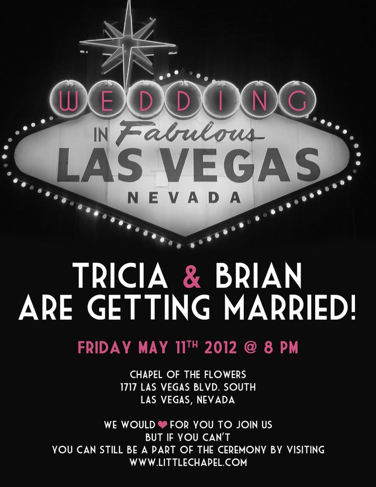 vegas wedding invite - love that it's for a couple that just got married here!
