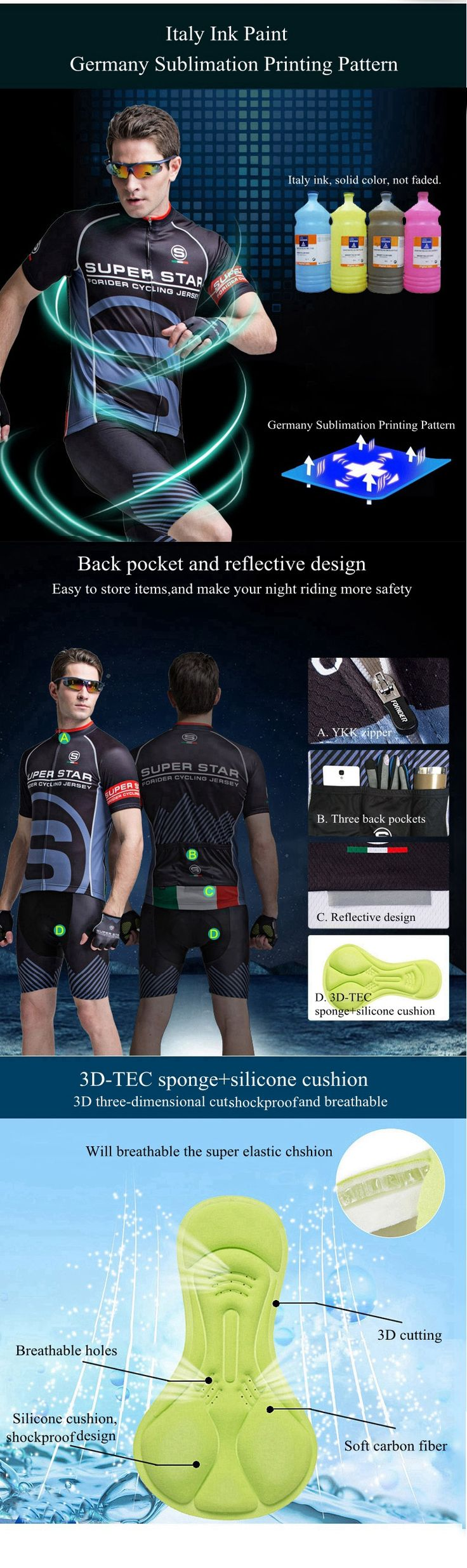Mens Cycling Short Sleeve Suits Bicycle Shorts Sports Jersey Quick Dry Breathable Wicking Summer