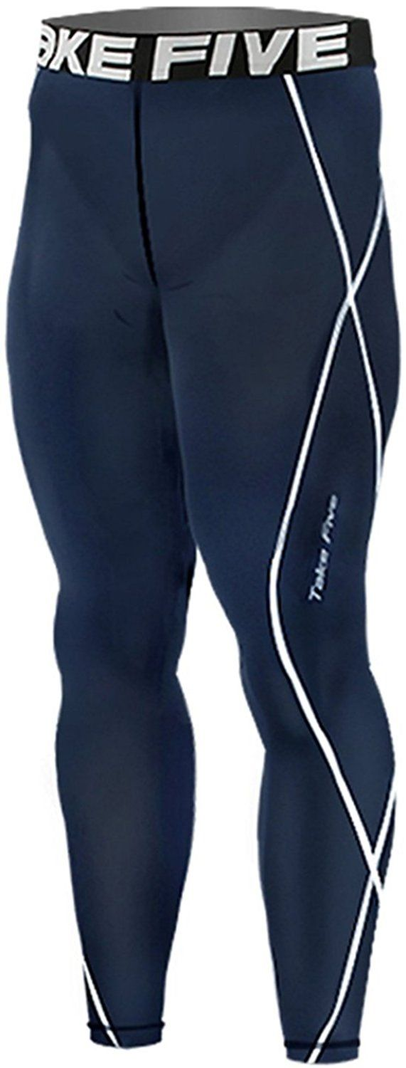 New 018 Skin Tights Compression Leggings Base Layer Navy Running Pants Mens * Check out this great image  : Sports Fitness Clothing