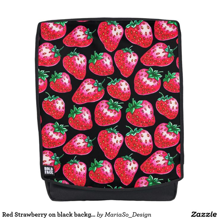 Red Strawberry on black background Backpack