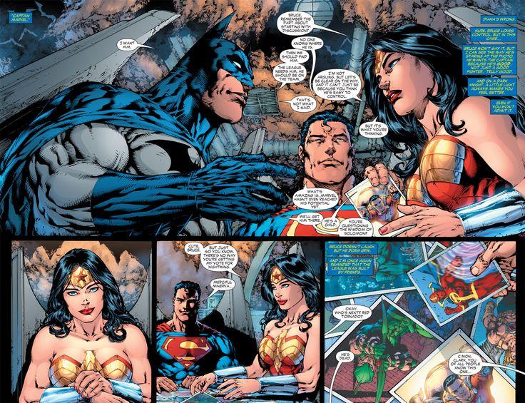 Batman, Wonder Woman, and Superman choosing new members of Justice League