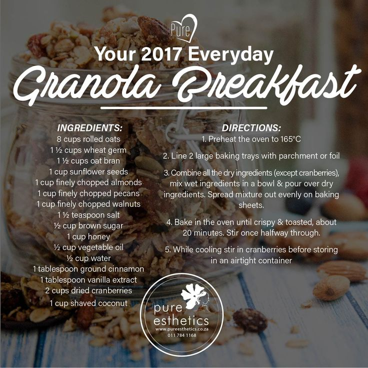 Healthy RecipeYour 2017 Everyday Granola Breakfast INGREDIENTS: 8 cups rolled oats 1 ½ cups wheat germ 1 ½ cups oat bran 1 cup sunflower seeds 1 cup finely chopped almonds 1 cup finely chopped pecans 1 cup finely chopped walnuts 1 ½ teaspoon salt ½ cup brown sugar 1 cup honey ½ cup vegetable oil ½ cup water 1 tablespoon ground cinnamon 1 tablespoon vanilla extract 2 cups dried cranberries 1 cup shaved coconut DIRECTIONS: 1. Preheat the oven to 165°C 2. Line 2 large baking trays with…