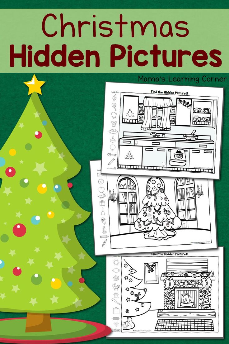 Download a 3-page set of Christmas Hidden Pictures Printables! After finding all of the hidden objects, your young one can color the picture!