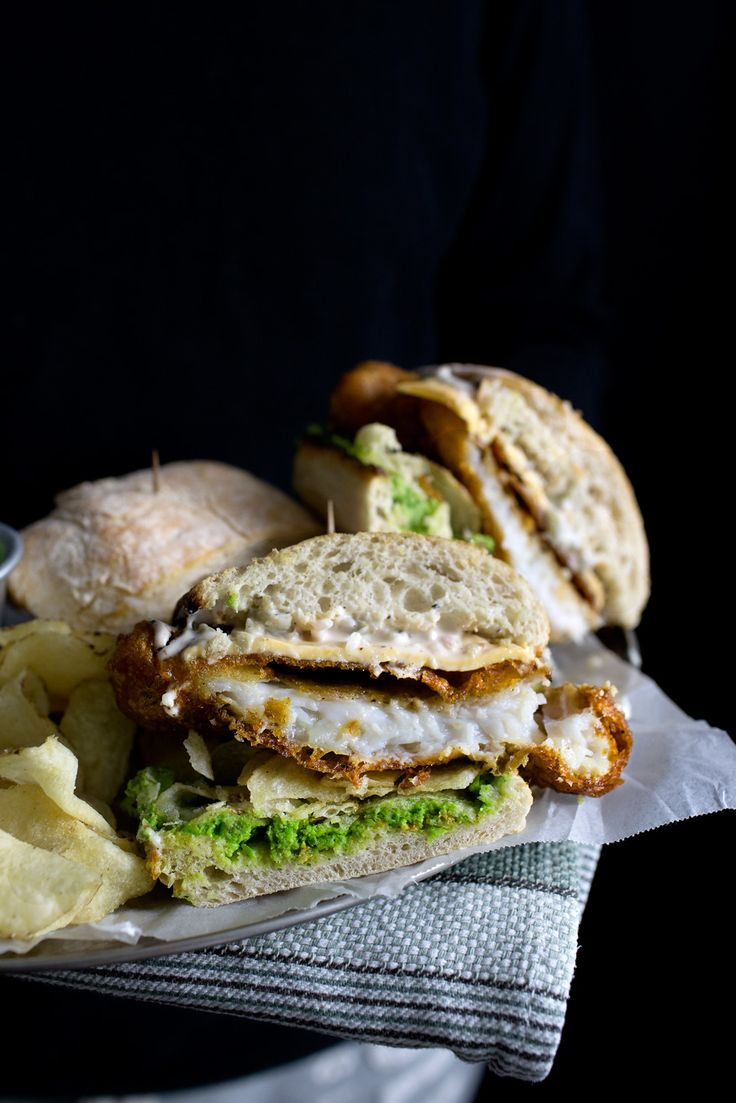 fish'n chip wich - Fillet o' Fish Sandwich made with beer battered fish, minty mashed peas, homemade tarter and with an added bonus of salt and vinegar chips for extra crunch