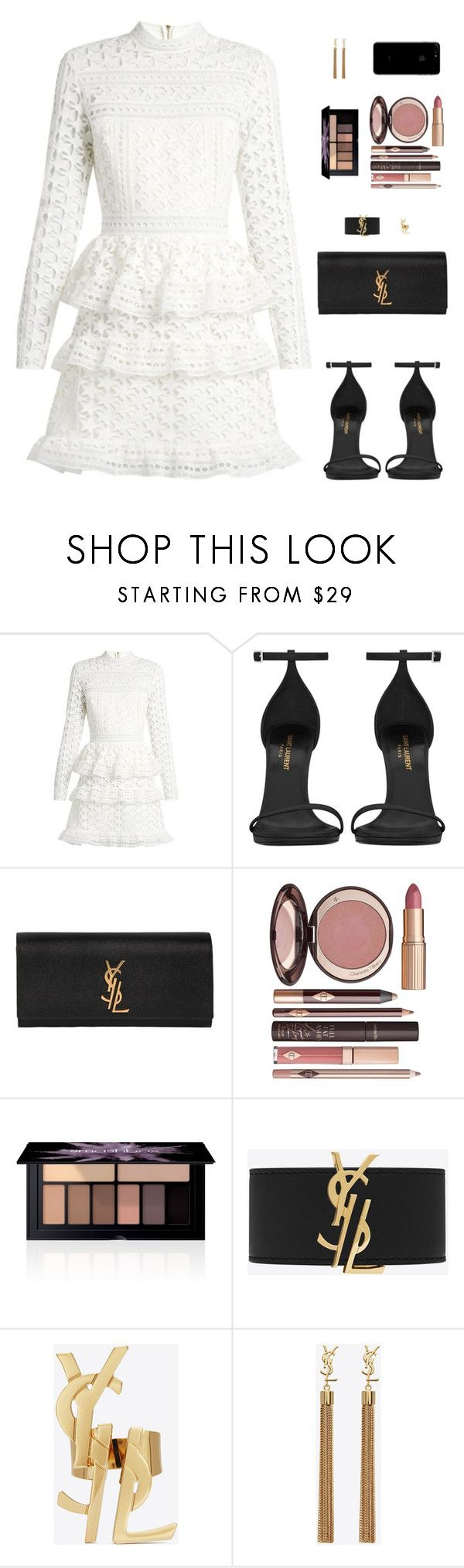 """Sin título #4694"" by mdmsb on Polyvore featuring moda, self-portrait, Yves Saint Laurent, Charlotte Tilbury y Smashbox"