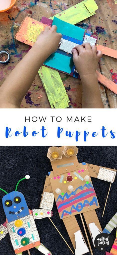 Lerne, wie du lustige Roboterpuppen bastelst, die sich aus Pappe und anderen …   – Season – Spring activities and crafts