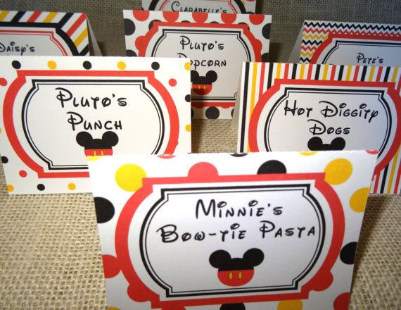 These food tent cards are the perfect fun addition to your Mickey Mouse Clubhouse Party! Food names can be changed/customized to match your party needs. You may also choose all of the print designs pictured, or just a few or just one - whichever you prefer. Please see the product