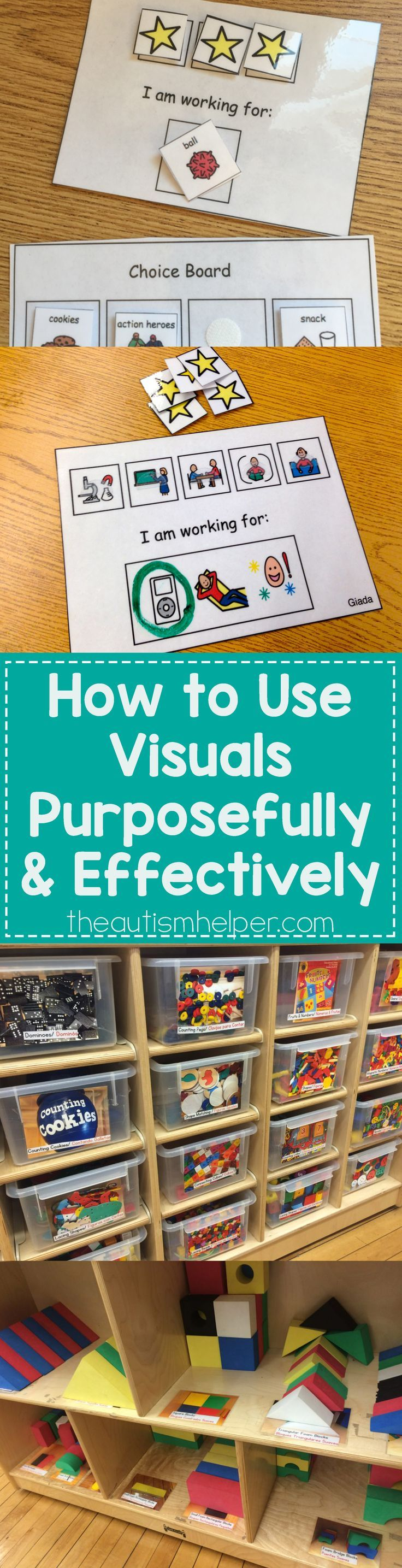Once you've made sure you have visuals to match the verbal requests you make on a daily basis, your job isn't over. Now it's time to teach your students how to use those visuals & what they mean. Essential tips for using visuals purposefully & effectively today on the blog! From http://theautismhelper.com