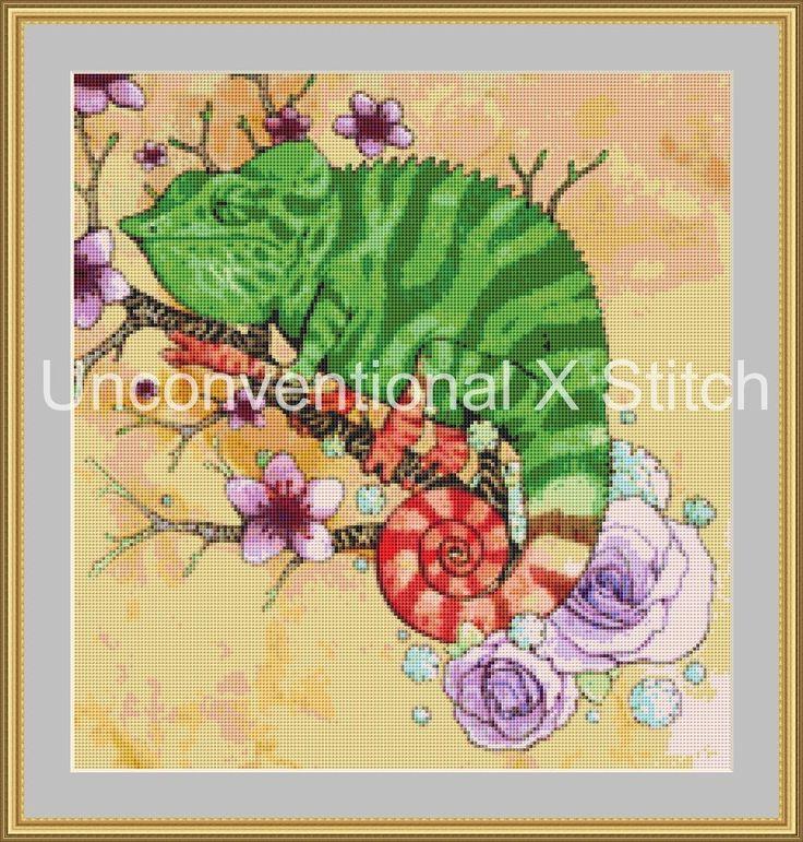 Chameleon wildlife cross stitch pattern - mini by UnconventionalX on Etsy