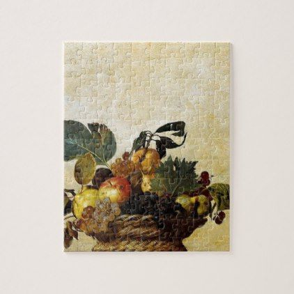 Caravaggio - Basket of Fruit - Classic Artwork Jigsaw Puzzle - wedding gifts marriage love couples