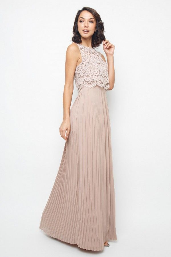 9631e639b2b5 TFNC Camden Pleat Lace Maxi Bridesmaid Dress, Pink/Blush in 2019 ...
