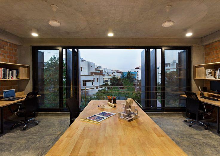 BetweenSpaces' Bangalore studio has folding steel shutters