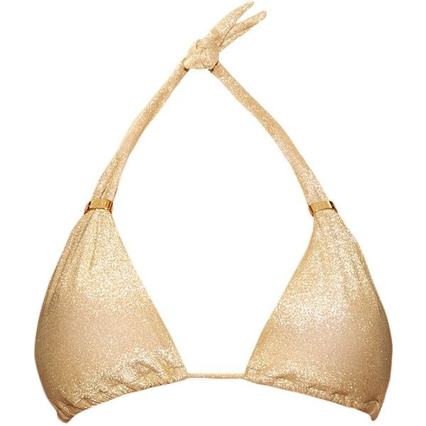Ondademar Triangle halterneck bikini top (€80) ❤ liked on Polyvore featuring swimwear, bikinis, bikini tops, gold, strap bikini, halter neck bikini, swimsuits tops, metallic bikini and tankini tops