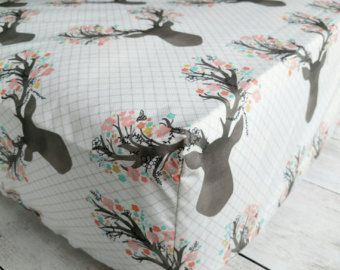 Stag with Flowers Fitted Crib Sheet - Woodland Deer Crib Sheet - Crib Sheet for Baby Girl Nursery - Woodland Nursery Crib Bedding