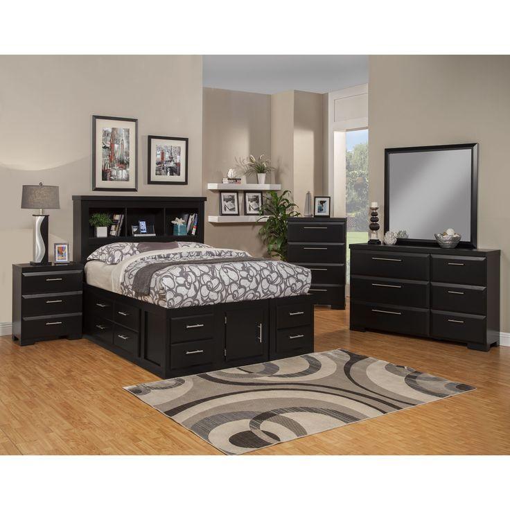 Sandberg Furniture Serenity Bedroom Set (Serenity Full Bedroom Set), Black