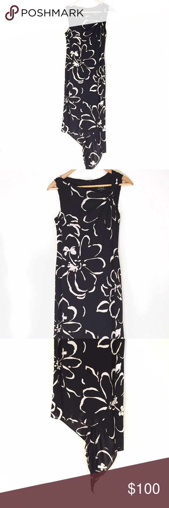 David Meister Asymmetrical black and white dress Floral light fabric. Gorgeous cocktail dress. Very elegant. Perfect condition David Meister Dresses Asymmetrical