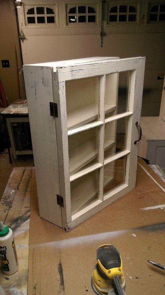 Medicine cabinet - rustic display cabinet - window wall cabinet - rustic wood windows - 6 pane window cabinet - shabby chic cabinet - shabby