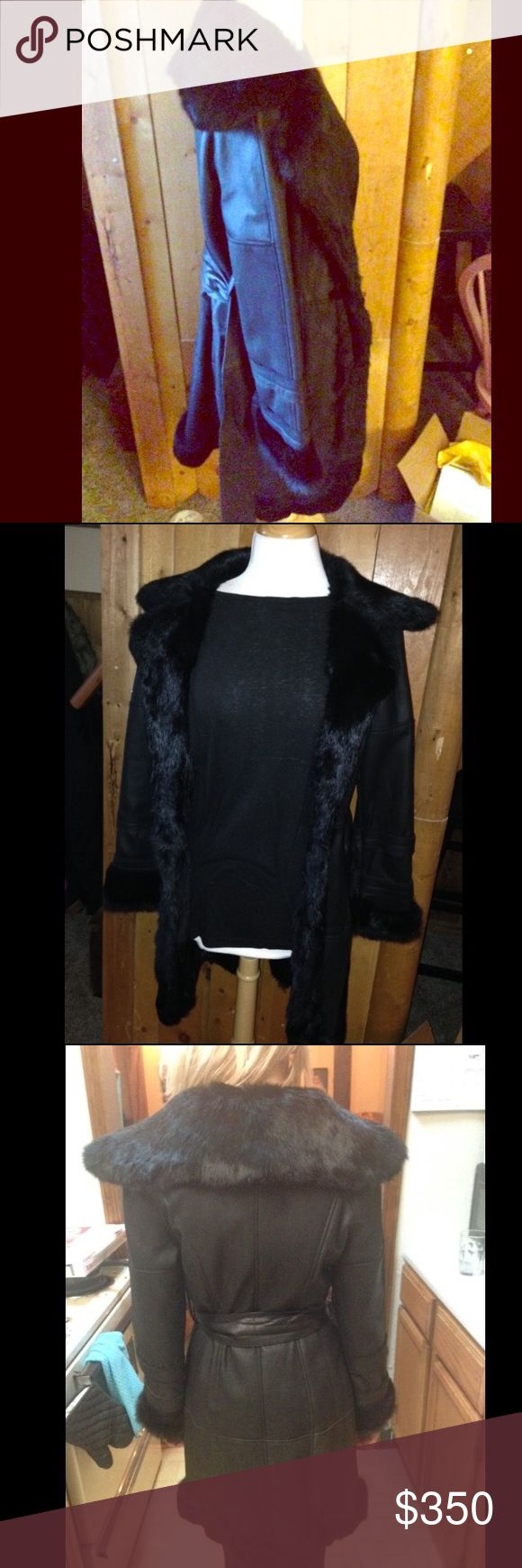 Women's Bebe XS Leather & Fur Peacoat long jacket Women's Bebe XS Leather & Fur Peacoat long jacket bebe Jackets & Coats Utility Jackets