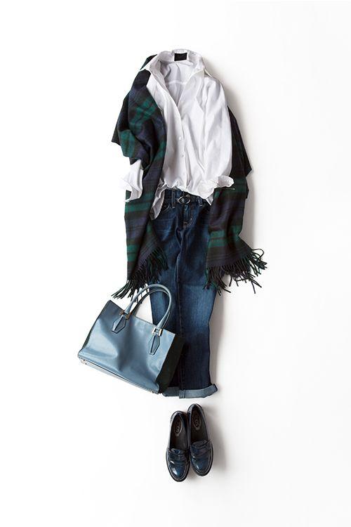 コーディネート詳細(白シャツを大好きな水色+グリーンで着る)| Kyoko Kikuchi's Closet|菊池京子のクローゼット