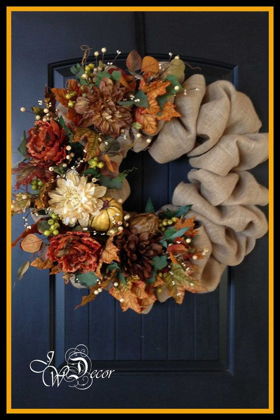 Fall Burlap Wreath  Autumn Wreath Burlap Wreath Large by JWDecor, $149.00