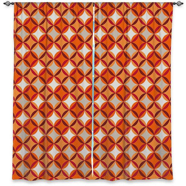 Perfect for the living room, dining room or bedroom, these artistic curtains are an easy and inexpensive way to add color and style when decorating your home. #homedecor #curtains #geometric #pattern #wall #art #orange #interior #