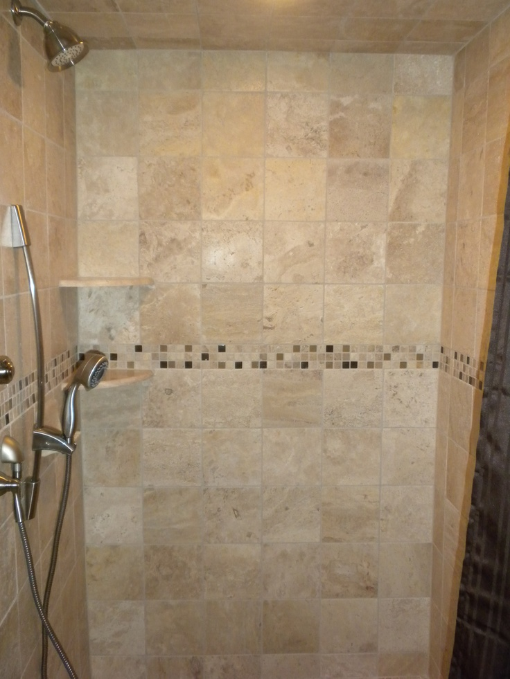 roll in shower with stationary standard shower head plus removable shower head slanted