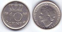#Нидерланды 10 центов 1948 (2) - KM# 177 - чекан 1 год - Вильгельмина - 35 р. #  Нидерланды 10 центов 1948 - KM# 177 - чекан 1 год - Вильгельмина - XF Состояние на сканеНидерланды