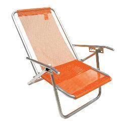 foto: Cadeira De Praia 5 Posições Em Alumínio Extra Larga Sannet Laranja