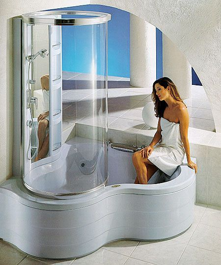 Shower Hot Tub-Whirlpool bath with integrated shower tower made of tempered glass.