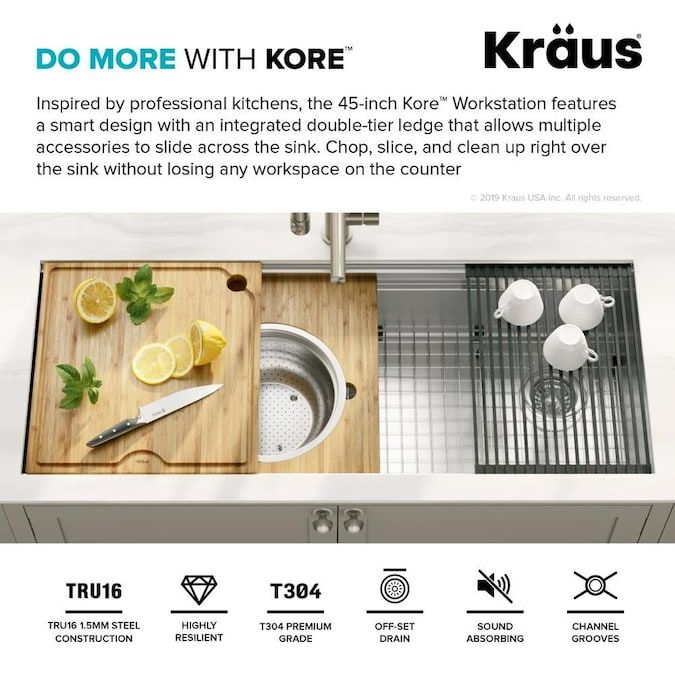 Kraus Kore 45 In X 19 In Stainless Steel Single Bowl Undermount Commercial Residential Workstation Kitchen Sink All In One Kit With Drai In 2020 Workstation Kraus Sink